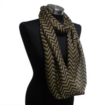 Chevron Sheer Infinity Scarf Brown/Black Contrasting Colors Soft Gift US... - $5.89