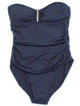 Calvin Klein Solid Shirred Underwire Bandeau Maillot One Piece Swimsuit,... - $58.41