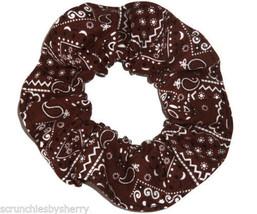 Brown Bandana Hair Scrunchie Scrunchies by Sherry Ponytail Holder Cotton... - $6.99