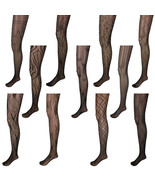 Adorox Black Unique Pattern Net Lace Stockings Fishnet Tights One Size F... - €4,13 EUR