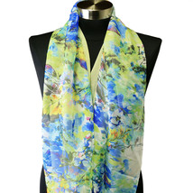 Sheer Spring Watercolor Yellow Blue White Floral Viscose Infinity Scarf ... - €6,29 EUR