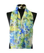 Sheer Spring Watercolor Yellow Blue White Floral Viscose Infinity Scarf ... - $6.79