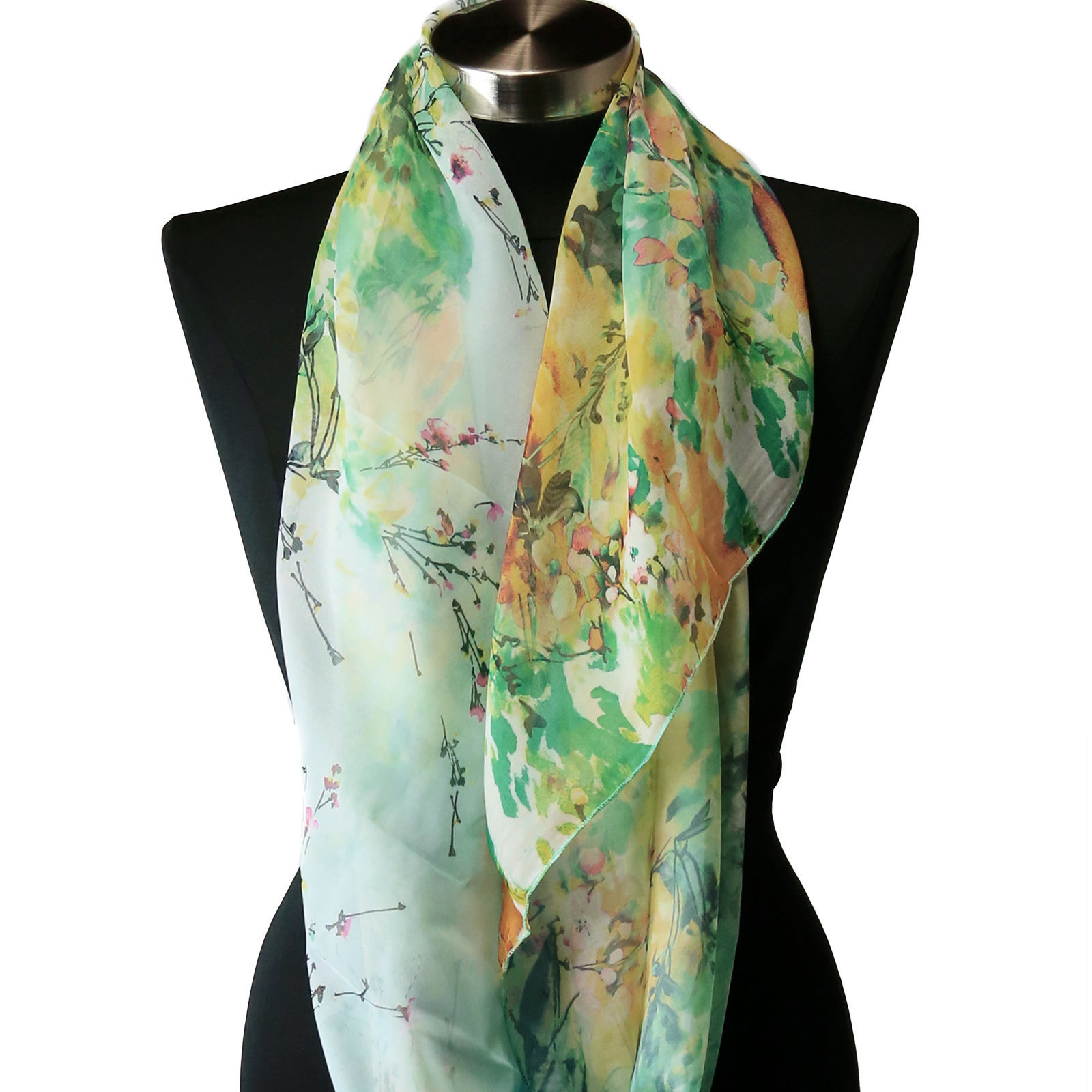 Primary image for Sheer Spring Watercolor Blue Green Yellow Floral Viscose Infinity Scarf Chiffon