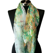 Sheer Spring Watercolor Blue Green Yellow Floral Viscose Infinity Scarf ... - €6,29 EUR
