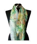 Sheer Spring Watercolor Blue Green Yellow Floral Viscose Infinity Scarf ... - €6,23 EUR
