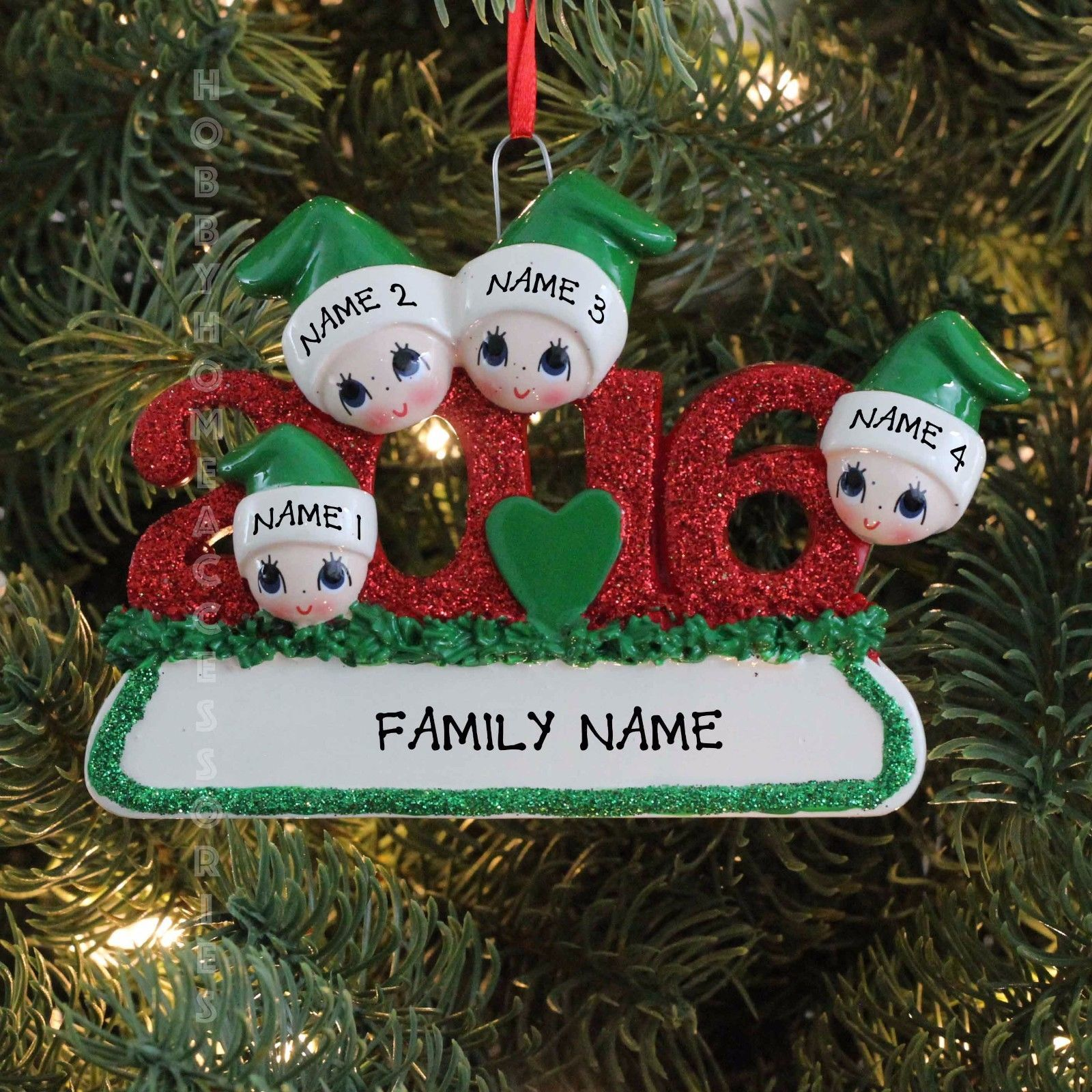 2016 face family of 4 personalized christmas tree ornament for Custom christmas tree ornaments