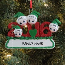 2016 Face Family Of 4 Personalized Christmas Tree Ornament - $11.83