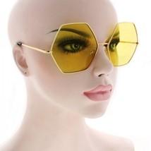 CLASSIC VINTAGE RETRO Style SUN GLASSES Unique Gold Hexagon Frame 5 Lens... - $7.87+