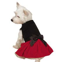 Zack & Zoey Velvet Bow Dog Dress Holiday Dress Up Black Red Pet - $14.99