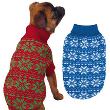 Holiday Snowflake DOG SWEATER Pet Winter Red Green blue Pet Christmas Ha... - $15.99+