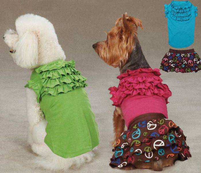 Tiered Ruffle T-Shirt Pet Tee Shirt and/or Peace Out Skirt Separates Ruffled - $10.99 - $13.99