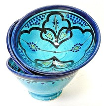 Moroccan Hand Painted Medium Ceramic Turquoise Floral Safi Bowls Set of 3 - $25.73