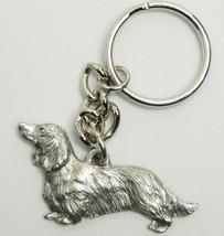 Dachshund long hair Dog Keychain Keyring Harris Pewter Made USA Key Chai... - $9.48