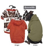 Dog Hoodie Zack & Zoey Forest Friends Reversible Hoodies Green Orange Pe... - $29.50+