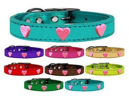 PINK GLITTER HEARTS Metallic Leather Dog Collar * 8 Colors * Valentines Day - €13,53 EUR+