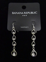 New Silver Tone Rhinestone Dangle Earrings by Banana Republic NWT #BRE40 - $6.44