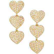 Kate Spade Gold Crystal Heart Drop Earrings WBRUH718 NWT - $53.96