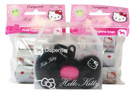 Hello Kitty Black Bow Dispenser Dog Doggie Waste Bag Holder & 2 Refill L... - $15.95