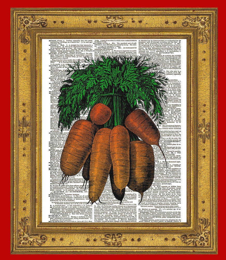 Color Bunch of CARROTS Beautiful Upcycled Vintage Dictionary Page Print No. 0006
