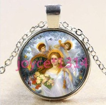 THREE ANGELS CABOCHON NECKLACE    C/S & H AVAILABLE     405 - $3.00