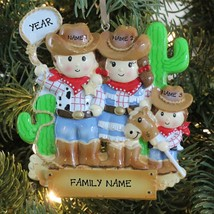 Cowboy Family of 3 Personalized Christmas Tree Ornament Holiday Gift 2016 - $12.82