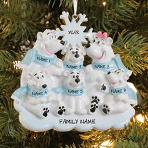 Polar Bear Family of 6 Personalized Christmas Tree Ornament Holiday Gift 2016 - $15.79