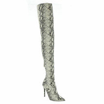 Steve Madden Women Thigh High Sock Boots Domain Size US 6M Natural Snake - $81.00