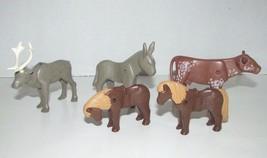 Playmobil animal lot donkey pony bull steer moose or reindeer lot - $11.57