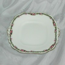 """Vintage Aynsley Square Platter Plate With Handles 3220 Black Band Pink Roses 10"""" - $19.99"""
