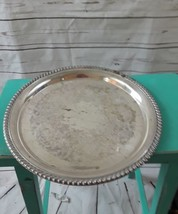 Vintage Wm A Rogers etched pierced rim round silver serving tray wedding... - $32.21