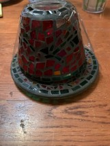 Yankee Candle Red And Green  Mosaic Candle Topper With Candle Plate /small - $19.99
