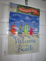 "Brighton Beach Huts ""Welcome to the Beach"" Summer Garden Flag-2 Sided , ... - $12.00"