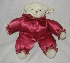 Russ Berrie Caress Soft Pets Cream Teddy Bear Stuffed Plush Red Satin #4... - $69.29
