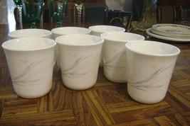 "Vintage Corning FLORAL WISP 3.5"" Tea/Coffee Mugs Cups Lot of 7 Disc Pattern USA - $36.03"
