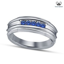 Men's Band Wedding Ring Round Cut Blue Sapphire 14k White Gold Plated 92... - $82.99