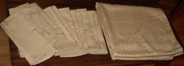 Vintage Gently Used Set of 8 Polyester Napkins and Tablecloth - EMBOSSED... - $39.59