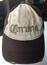 Distressed Corona Beer Hat Cap Appliqué Brown Tan Buckle Adjustable Strap - $19.55
