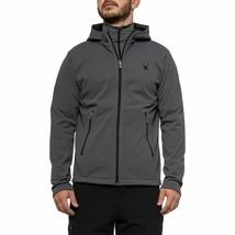 Spyder Men's Grey Full Zip Hooded Waterproof Softshell Hydroweb Jacket Coat - $47.99