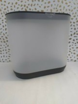 Room Essentials Bathroom Trash Can Wastebasket Frosted White/Black (STORE) NEW image 2