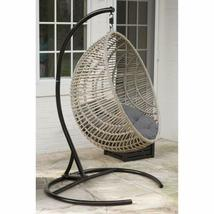Hanging Chair Set Grey Wicker Egg Wicker w/Cushion Patio Lounge Chair Boho Chic image 6