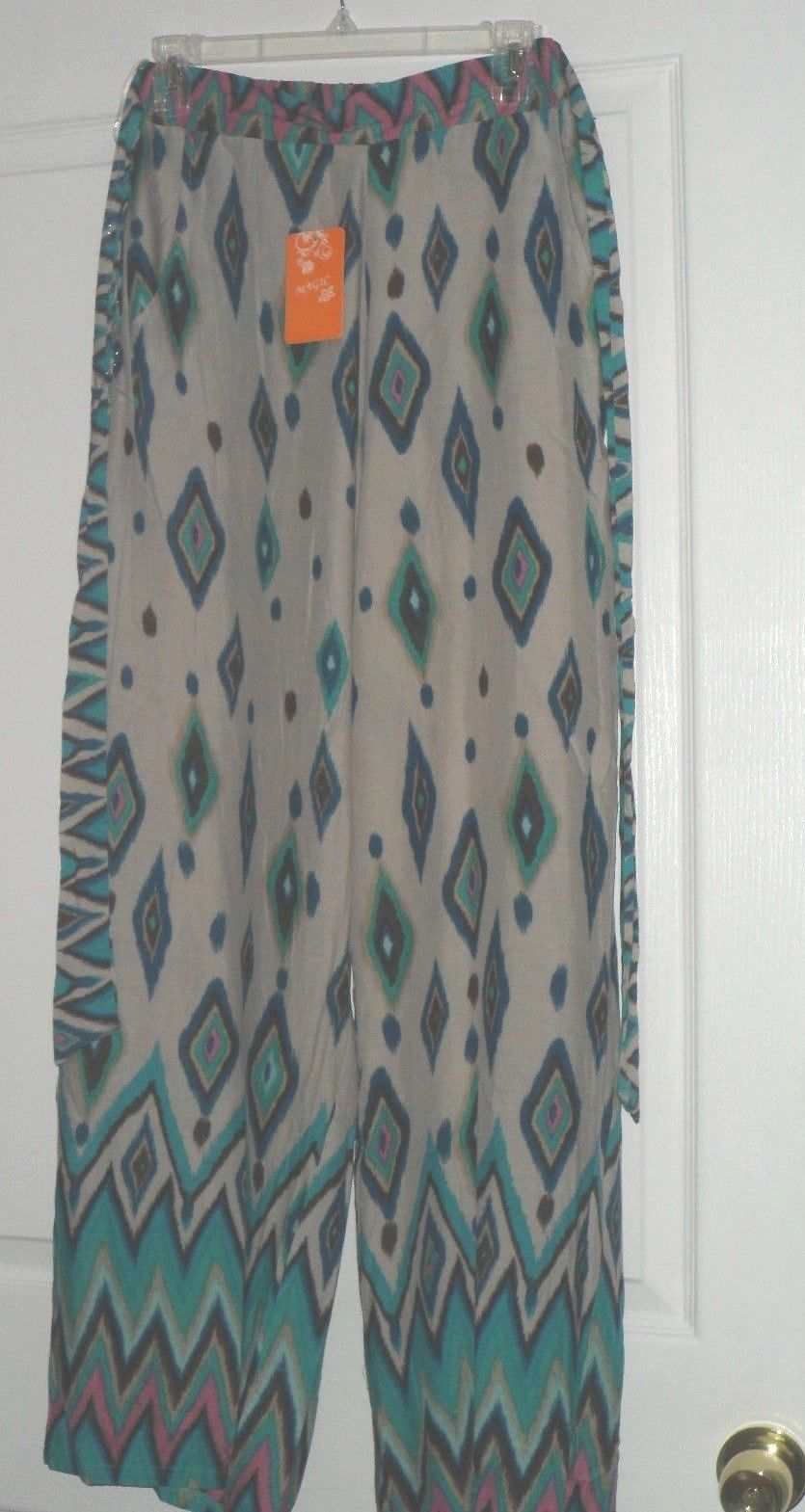 MAGIC COVER UP PALAZZO PANTS SIZE S BEIGE GREEN BLUE TRIBAL PRINT NWT