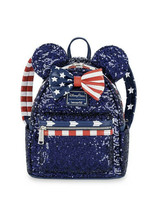 *NEW Disney Parks Loungefly Mini Backpack Americana Star & Stripes Sequi... - $97.60
