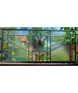 Stained Glass Window Panel Beveled Mission Style Prairie Transom customi... - $149.50