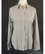 CHAPS Size M 8 10 Black White Striped Classic Cotton Shirt Top - $16.99