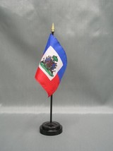 "HAITI 4X6"" TABLE TOP FLAG W/ BASE NEW DESK TOP HANDHELD STICK FLAG - $4.95"