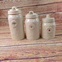 Rae Dunn Magenta Set Of 3 Canister Jars With Lids Dragonfly Bumblebee La... - £44.98 GBP