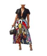 Women Color Block Graffiti Letter Print A Line Maxi Long Party Skirt Whi... - $26.93