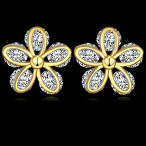 Betsey Johnson Crystal Pink Flower Rose Gold Drop Stud Earrings Free Gif... - $7.83