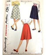 VTG Sewing Pattern Simplicity #1436 Waist 28 Hip 37 Skirt Complete 1940s... - $12.74