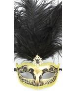 "Gold Black Feather Venetian Masquerade Mardi Gras Jewel Gem Mask 12"" New - $17.05"